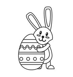 Easter rabbit hugging egg thin line vector