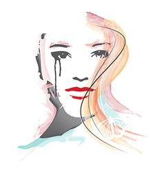 Feminous face watercolor vector