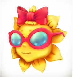 Fun summer sun little girl 3d icon vector