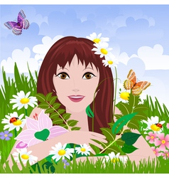 girl meadow vector image vector image