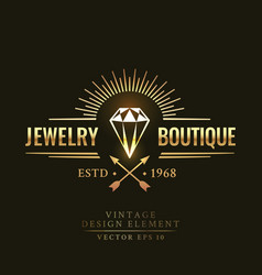 gold vintage retro badge wit diamond vector image