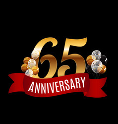 golden 65 years anniversary template with red vector image