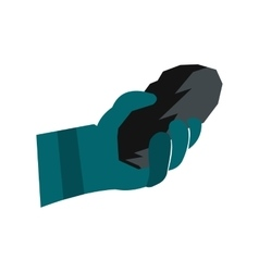 Hand holding a bunch of coal flat icon vector