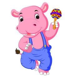 happy hippo cartoon vector image vector image