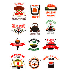 japanese food emblem set with sushi seafood rice vector image