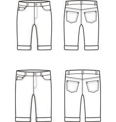 Jean breeches front and back vector