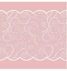 lace pattern with roses on pink background vector image vector image