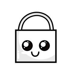 Line kawaii cute happy padlock element vector