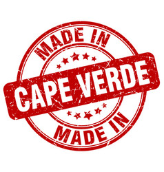 Made in cape verde red grunge round stamp vector