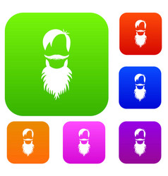 male avatar with beard set collection vector image
