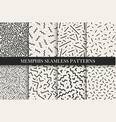 memphis seamless patterns - swatches vector image vector image