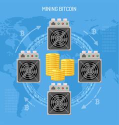 Mining crypto currency bitcoin concept vector