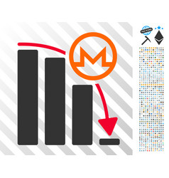 Monero falling acceleration graph flat icon with vector