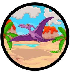 Pterodactyl cartoon flying vector