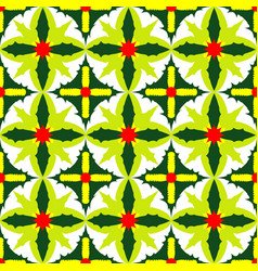 Seamless pattern of exotic green leaves vector