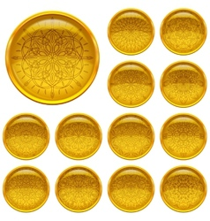 Set golden buttons with patterns vector