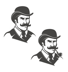 Set of gentleman heads with smoking pipe isolated vector