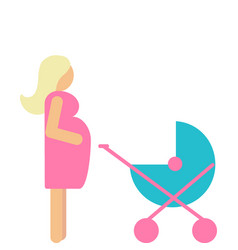 Set of pregnant mother with newborn in stroller vector