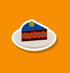 sweet dessert in paper sticker berry pie on a vector image