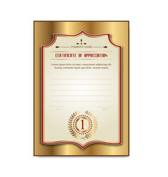 Template gold certificates with the medal laurel vector