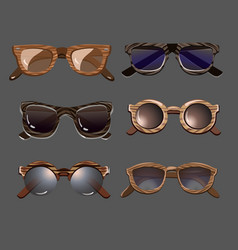 trendy fashionable hipster sunglasses set vector image vector image