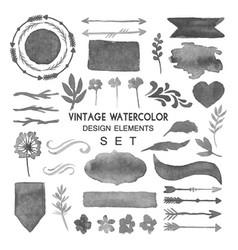 vintage watercolor design elements set vector image