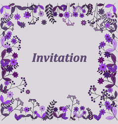 wedding invitation card with flower templates vector image vector image
