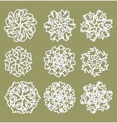 White geometric star shapes snowflakes with fine vector