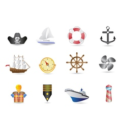 Marine sailing and naval icons vector