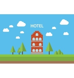 Hotel concept with building standing blue sky vector