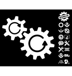 Cogs rotation icon with tools bonus vector