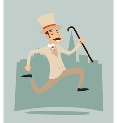 Happy victorian running gentleman hurry wealthy vector