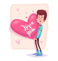 Charming man holding a heart cute vector image