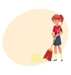 Teenage girl helping to clean house sweeping vector