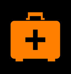 Medical first aid box sign orange icon on black vector