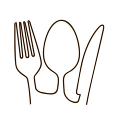Monochrome contour with set of cutlery close up vector