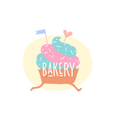 cupcake with heart and text bakery vector image
