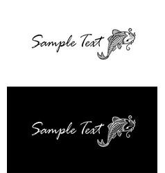 Carp koi silhouette business card concept vector