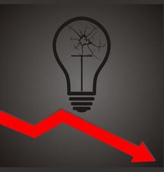 broken light bulb broken idea concept vector image