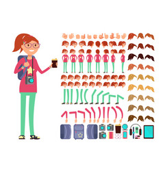 Cartoon girl teenager in casual clothes vector