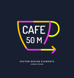 Bright colored pointer for a cafe with a cup and vector