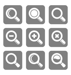 Magnifier glass and zoom icons set vector