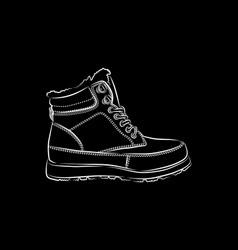 men winter boots on black background vector image