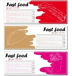 Fast food menu cards with hot dog taco and french vector