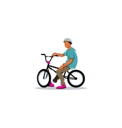 Young man rides sitting on a bmx bike sign vector