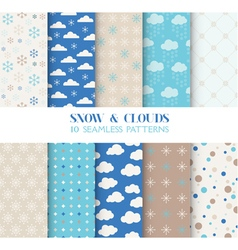 10 seamless patterns - snow and clouds vector