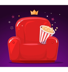 Red cinema armchair with popcorn on purpl vector