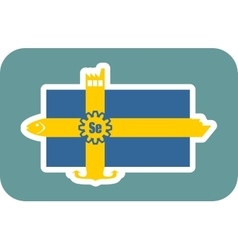 Sweden national flag with icons vector