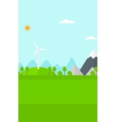 Background of mountains with wind turbine vector image vector image
