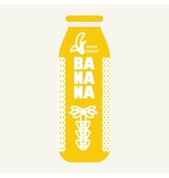 Bottle with drawing banana vector